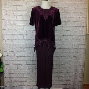 Vintage SL Fashions Maxi Dress Women 12 Stretch